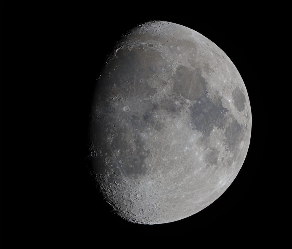 Gibbous Moon, in colour