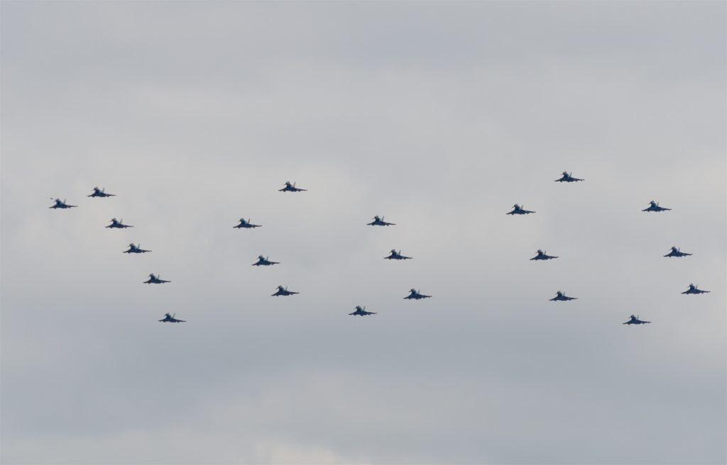 RAF100 flypast - Typhoon formation
