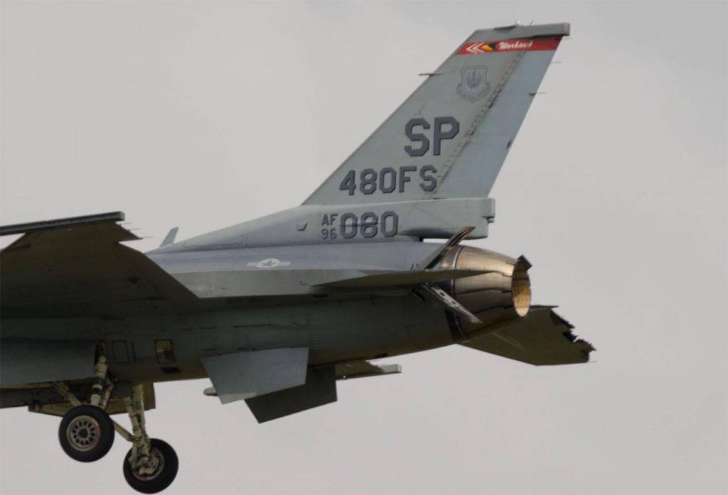 Team Viper F-16 damage at RIAT 2019