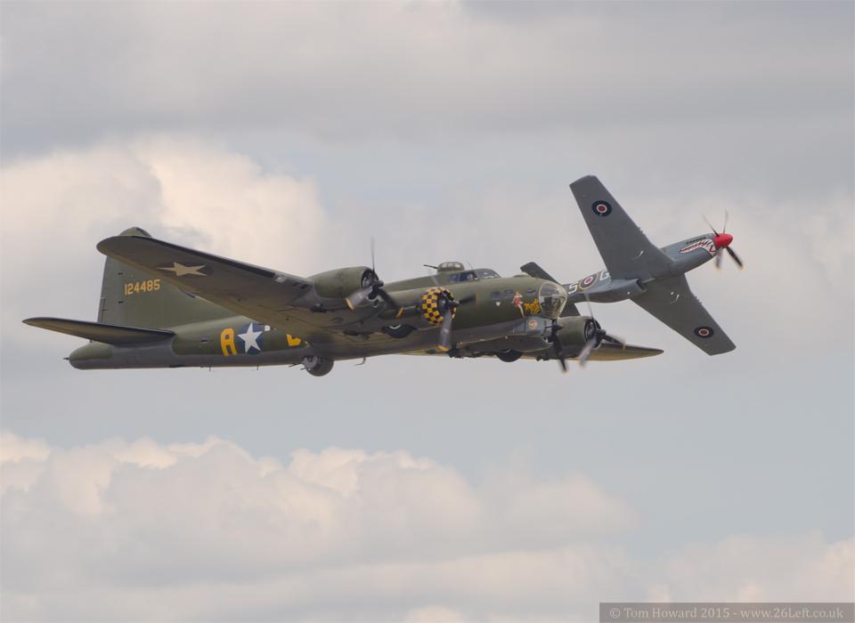 """B-17 """"Sally B"""" and Mustang """"The Shark"""""""