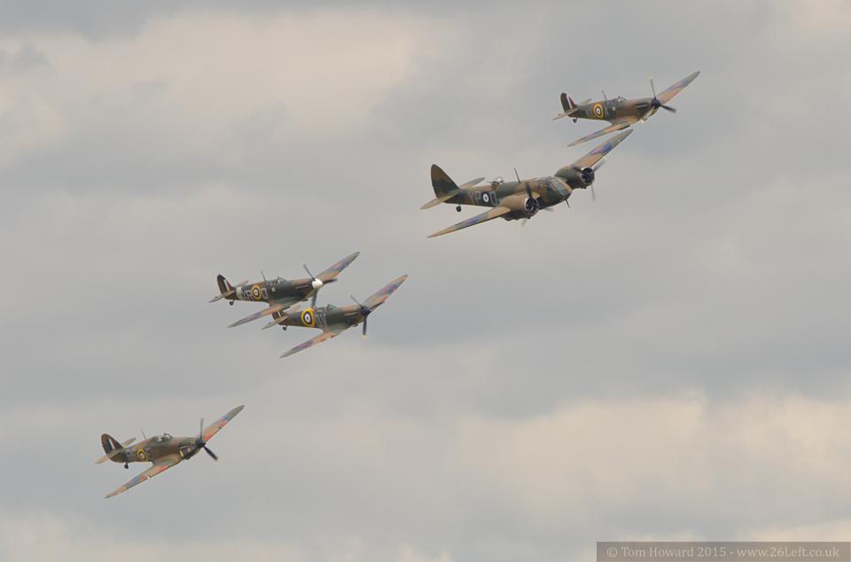 Blenheim, Hurricane and three Spitfires